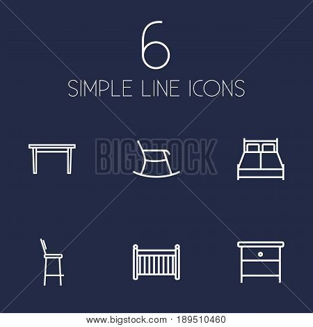 Set Of 6 Decor Outline Icons Set.Collection Of Bar Stool, Double Bed, Crib And Other Elements.