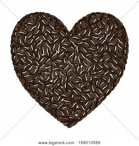 Illustration coffee love in the shape of a heart on a white background.
