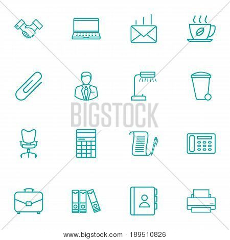 Set Of 16 Work Outline Icons Set.Collection Of Partnership, Post, Reading-Lamp And Other Elements.