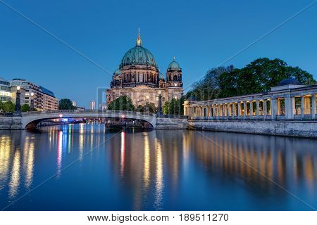The Berlin Cathedral and the river Spree at dusk