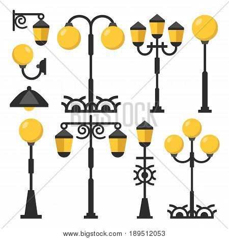 Vintage streetlights set. Black outdoor light posts, street lamps, street lanterns collection. Flat design graphic elements isolated on white background. Vector illustration
