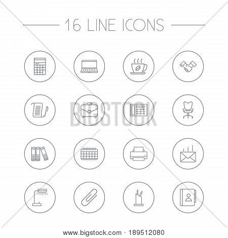 Set Of 16 Bureau Outline Icons Set.Collection Of Hot Drink, Portfolio, Notebook And Other Elements.
