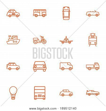 Set Of 16 Traffic Outline Icons Set.Collection Of Moped, Coupe, Bus And Other Elements.
