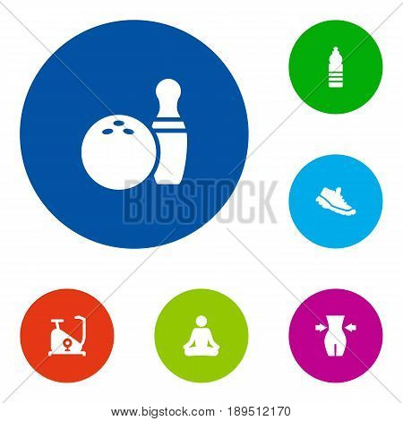 Set Of 6 Bodybuilding Icons Set.Collection Of Kegling, Sneakers, Training Bicycle And Other Elements.