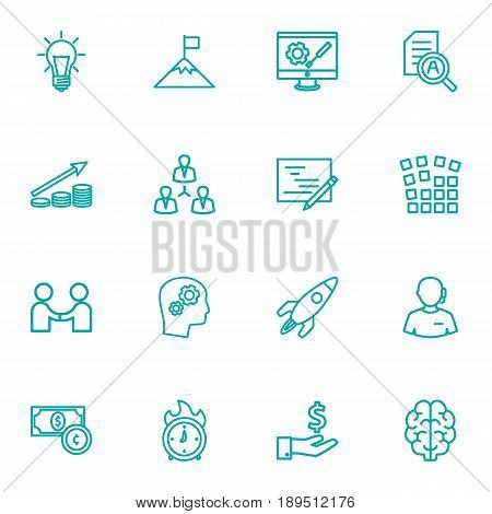 Set Of 16 Startup Outline Icons Set.Collection Of Money Saving, Profit, Currency And Other Elements.