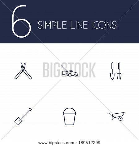 Set Of 6 Household Outline Icons Set.Collection Of Barrow, Pail, Grass-Cutter And Other Elements.
