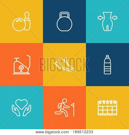 Set Of 9 Training Outline Icons Set.Collection Of Bowling, Calendar, Health Care And Other Elements.