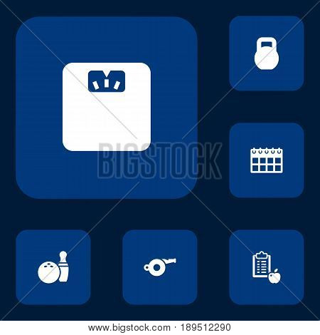 Set Of 6 Training Icons Set.Collection Of Date, Body Balance, Kegling And Other Elements.
