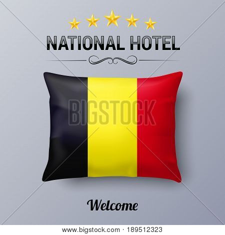 Realistic Pillow and Flag of Belgium as Symbol National Hotel. Flag Pillow Cover with Belgian flag