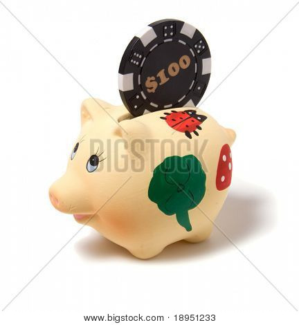 Piggy bank isolated on white background poster