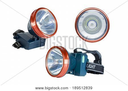 LED Headlamp isolated. The small flashlight with straps for head have a clipping path.