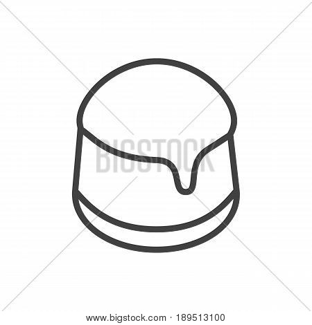 Isolted Custard Outline Symbol On Clean Background. Vector Pudding Element In Trendy Style.