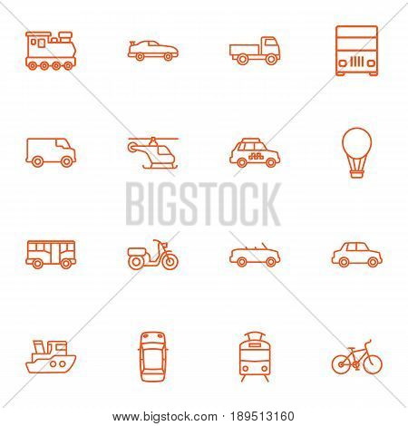 Set Of 16 Shipping Outline Icons Set.Collection Of Air Balloon, Helicopter, Bus And Other Elements.