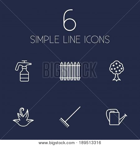 Set Of 6 Farm Outline Icons Set.Collection Of Atomizer, Herb, Harrow And Other Elements.