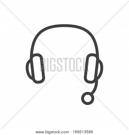 Isolted Headset Outline Symbol On Clean Background. Vector Headphone Element In Trendy Style.