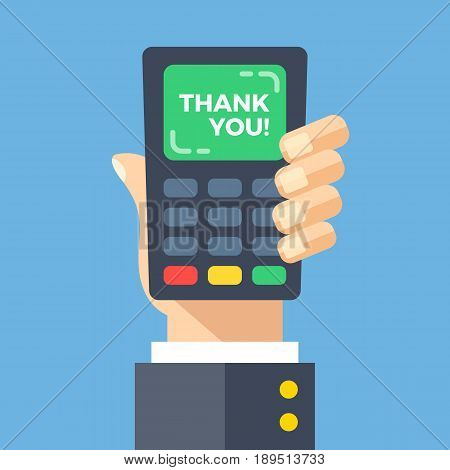 Credit card machine with thank you words. Hand holding point of sale, pos, payment terminal with gratitude to customer on screen. Thanks concept. Modern flat design vector illustration