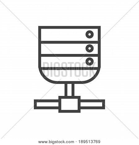 Isolted Datacenter Outline Symbol On Clean Background. Vector Server Element In Trendy Style.
