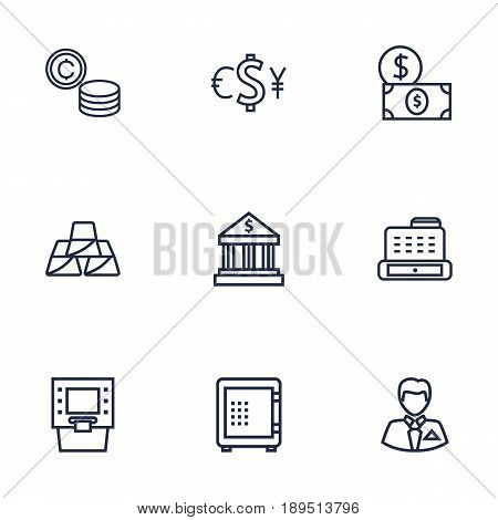 Set Of 9 Budget Outline Icons Set.Collection Of Exchange, Atm, Coins And Other Elements.