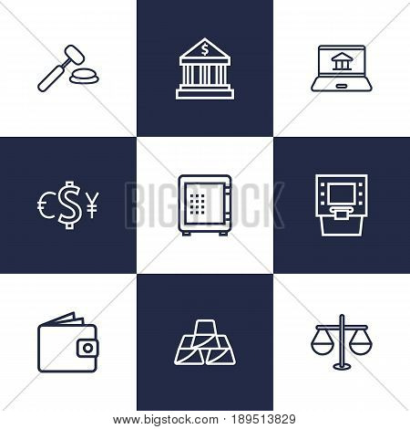 Set Of 9 Finance Outline Icons Set.Collection Of Golden Bars, Atm, Internet Banking And Other Elements.