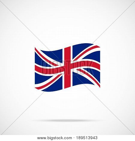Waving United Kingdom flag icon. Premium quality fluttering UK flag. Accurate official color scheme. Vector icon isolated on gradient background