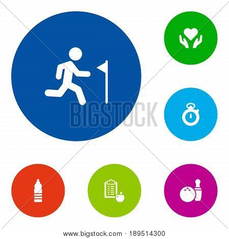 Set Of 6 Training Icons Set.Collection Of Regime, Running, Kegling And Other Elements.