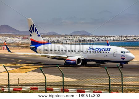 Arecife, Spain - April, 15 2017: Boeing 737 - 800 Of Sunexpress With The Registration D-asxr Ready T