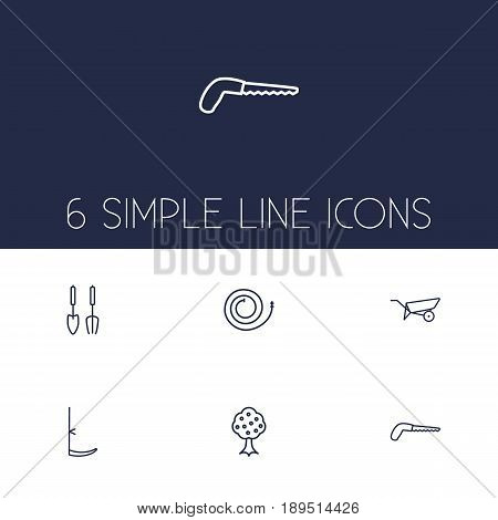 Set Of 6 Farm Outline Icons Set.Collection Of Barrow, Instruments, Garden And Other Elements.