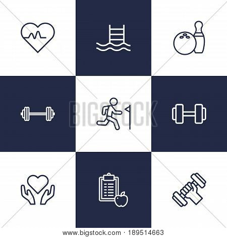 Set Of 9 Training Outline Icons Set.Collection Of Bowling, Dumbbell, Training And Other Elements.