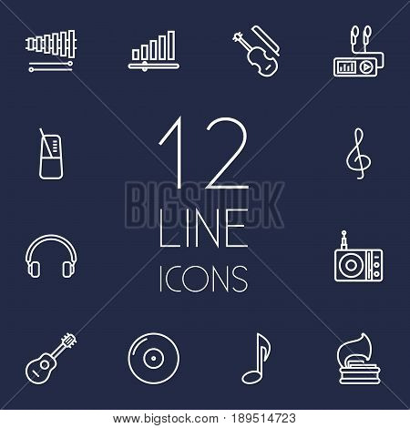 Set Of 12 Song Outline Icons Set.Collection Of Turntable, Fiddle, Note And Other Elements.