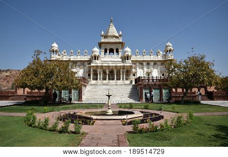 Jaiphour, India- March 24 2017:Jaswant Thada monument at the lush garden in the city of Jodhpur India