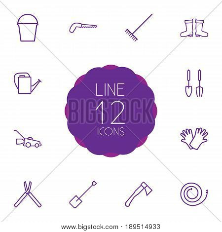 Set Of 12 Horticulture Outline Icons Set.Collection Of Waterproof Shoes, Bailer, Instruments And Other Elements.
