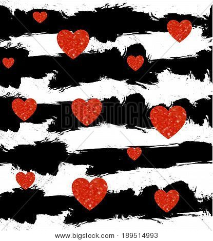 Seamless pattern with abstract black and white stripes. Red hearts. VECTOR seampless stiped pattern.