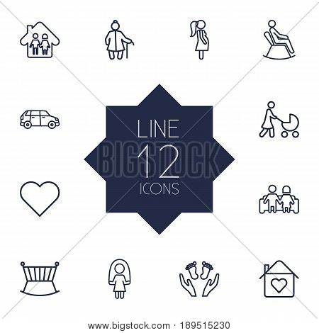 Set Of 12 Relatives Outline Icons Set.Collection Of Soul, Skipping Rope, Man In Armchair And Other Elements.