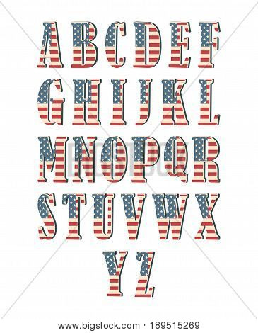 Capital 3d letter alphabet with american flag texture isolated on white background. Vector illustration. Element for design. Kids alphabet. USA flag patriotic font.