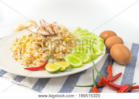 Crab fried rice on white background Thai food