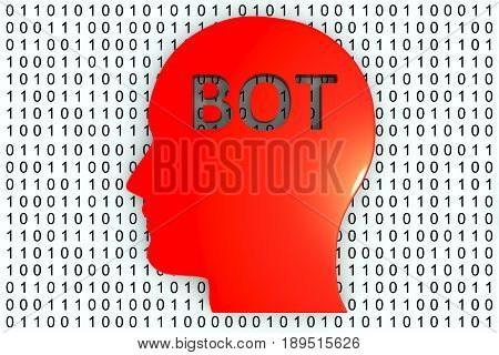 bot in the form of binary code, 3D illustration