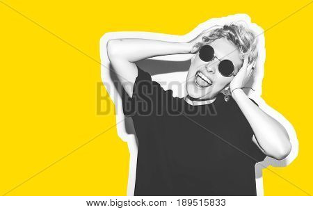 Collage in magazine style with colorful emotional fashion short hair blonde. Crazy girl in black t-shirt and rock sunglasses scream holding her head. Rocky woman white toned yellow background