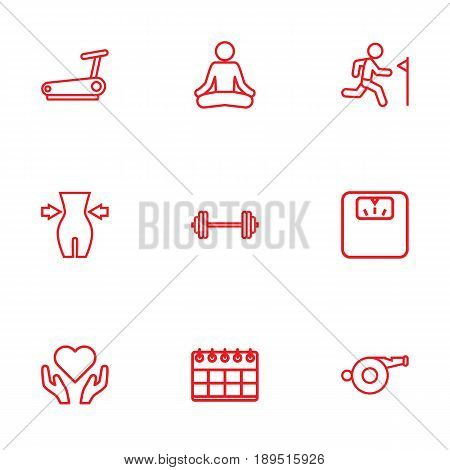 Set Of 9 Fitness Outline Icons Set.Collection Of Weight Loss, Health Care, Whistle And Other Elements.