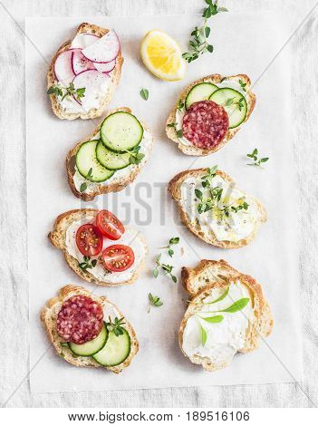 Variety of mini sandwiches with cream cheese vegetables and salami. Sandwiches with cheese cucumber radish tomatoes salami thyme lemon zest on a light background top view. Flat lay
