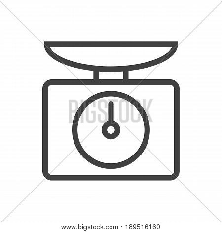 Isolted Weighing Machine Outline Symbol On Clean Background. Vector Scales  Element In Trendy Style.
