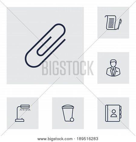Set Of 6 Work Outline Icons Set.Collection Of Administrator, Reading-Lamp, Fastener Paper And Other Elements.