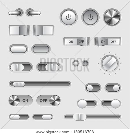Toggle switch buttons detailed photo realistic vector set