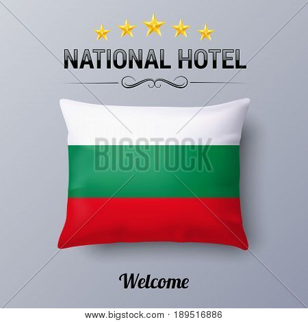 Realistic Pillow and Flag of Bulgaria as Symbol National Hotel. Flag Pillow Cover with Bulgarian flag