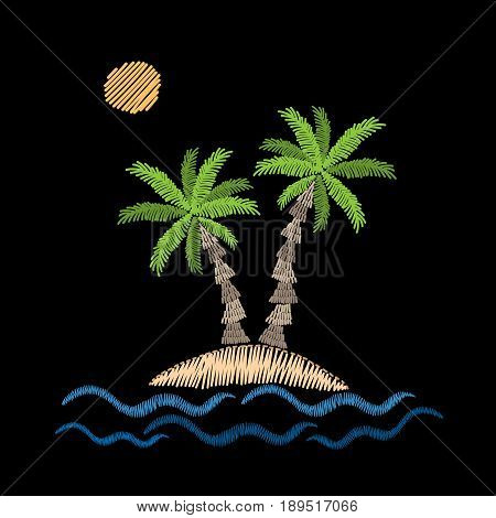 Palm tree with wave and sun embroidery stitches imitation on black background. Embroidery vector illustration with exotic palm tree. Vector isolated palm embroidery illustration.
