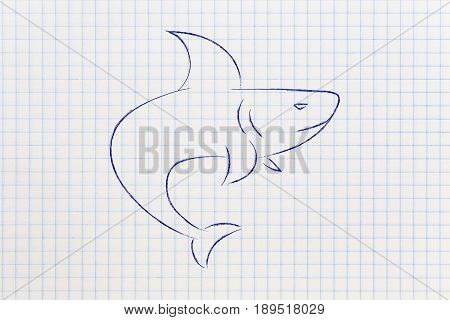 Blue Shark With Angry Eyes Outline Illustration