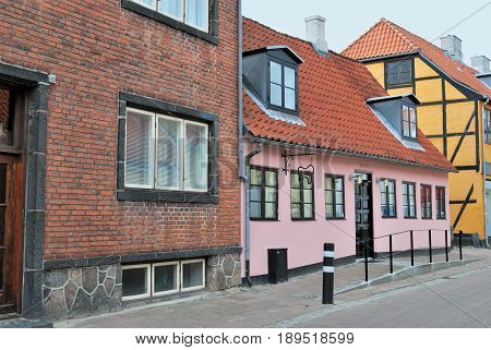 Denmark. Very old beautiful houses in the town of Helsingor