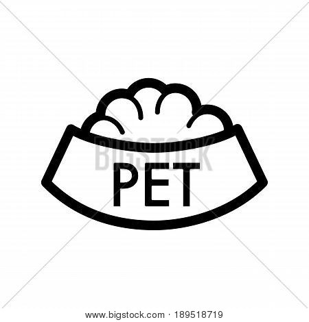 Pet bowl with food simple vector icon. Black and white illustration of dog and cat bowl. Outline linear icon. eps 10
