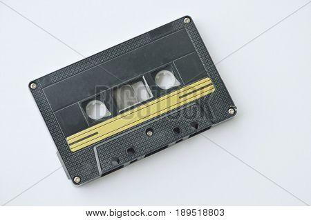 audio cassette tape recorder on white background