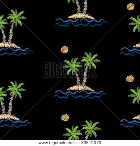 Seamless pattern with embroidery stitches imitation palm tree with wave and sun. Exotic palm tree embroidery pattern vector background for printing on fabric paper for scrapbook gift wrap.