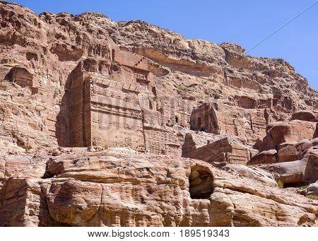 Rock tombs Petra the capital city of the Nabataeans Jordan